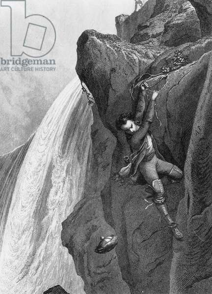 Niagara falls, engraving for Les Memoires d¿outre tombe by Francois Rene de Chateaubriand (1848)