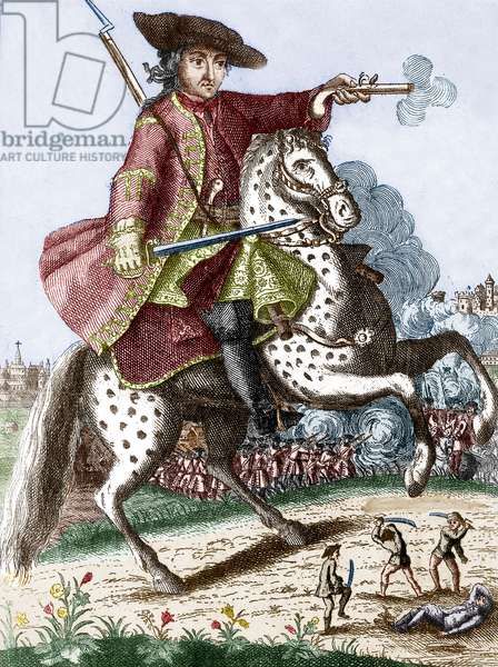 Louis Mandrin (1724-1755) French brigand and smuggler, engraving colourized document