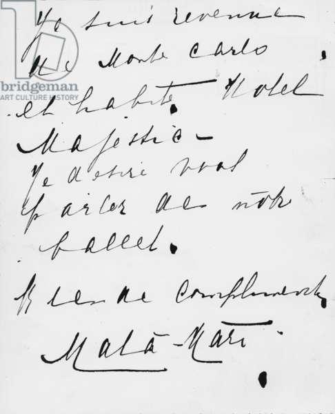 Letter written in French by Margaretha Geertruida Zelle aka Mata Hari (1876-1917)