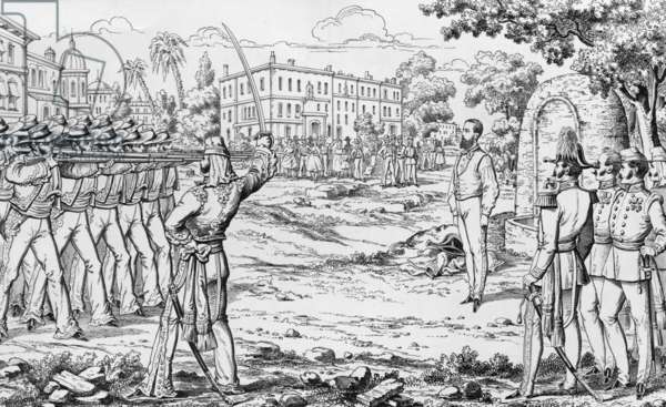 execution of emperor Maximilian 1st of Mexico by supporters of Juarez (mexican resistants) on june 19, 1867 in Queretaro, engraving