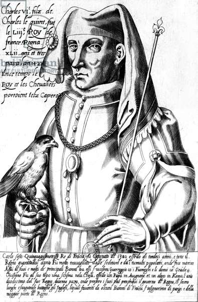 Charles VI (1368-1422) king of France in 1380-1422, engraving