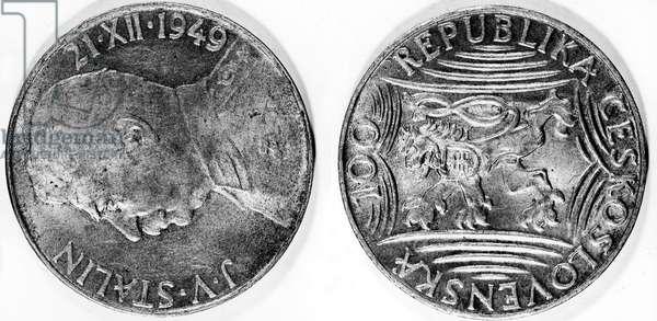 czech money : Czechoslovakia currency change coin with Stalin 1949