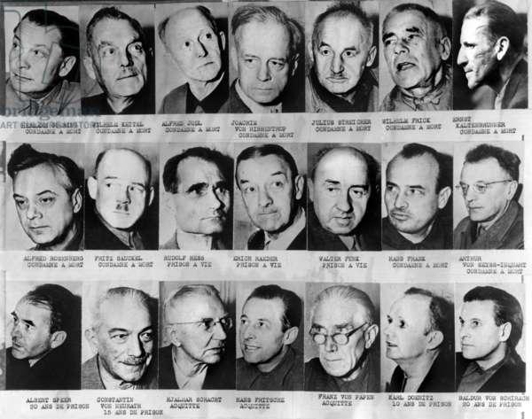 Proces de Nuremberg (1945 - 1946) : devant le tribunal international pour juger les chefs nazis accuses de crime de guerre : de haut en bas et de gauche a droite : Hermann Goering (condamne a mort), Wilhelm Keitel (condamne a mort), Alfred Jodl (condamne a mort) Joachim Von Ribbentrop (condamne a mort) Julius Streicher (condamne a mort) Wilhelm Frick (condamne a mort) Ernst Kaltenbrunner (condamne a mort) Alfred Rosenberg (condamne a mort) Fritz Sauckel (condamne a mort) Rudolf Hess (prison a vie) Erich Raeder (prison a vie) Walter Funk (prison a vie) Hans Frank (condamne a mort) Arthur Von Seyss Inquart (condamne a mort) Albert Speer (20 ans de prison) Constantin Von Neurth (15 ans de prison) Hjalmar Schacht (acquitte) Franz Von Papen (acquitte) Karl Doenitz (10 ans de prison) Baldur Von Schirach (20 ans de prison)\r--- Nuremberg Trials, 1945-1946 : the nazis war criminals : Hermann Goering, Wilhelm Keitel, Alfred Jodl, Joachim Von Ribbentrop, Julius Streicher, Wilhelm Frick, Ernst Kaltenbrunner, Alfred Rosenberg, Fritz Sauckel, Rudolf Hess, Erich Raeder, Walter Funk, Hans Frank, Arthur Von Seyss Inquart, Albert Speer, Constantin Von Neurth, Hjalmar Schacht, Franz Von Papen, Karl Doenitz, Baldur Von Schirach