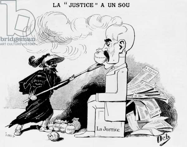 """cartoon of French politician Georges Clemenceau during the Dreyfus affair, drawing by Deb publish in newspaper """"Le Triboulet"""" 1893"""