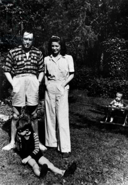 French writer Albert Camus and Janine Gallimard with her daughter Anne, 1945