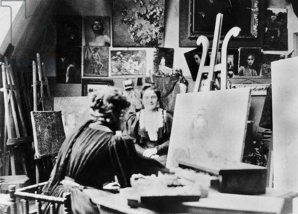 Berthe Morisot (1841-1895) in her workshop in Paris