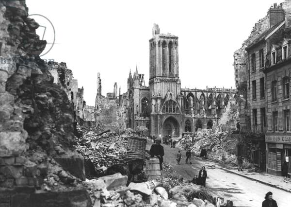 Caen, Normandy, France, july 1944 : the city and the cathedral in ruins after allies bombings