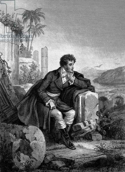 Francois Rene French writer, viscount of Chateaubriand (1768-1848) French writer, 1832, engraving by F. Delannoy after a drawing by Staal