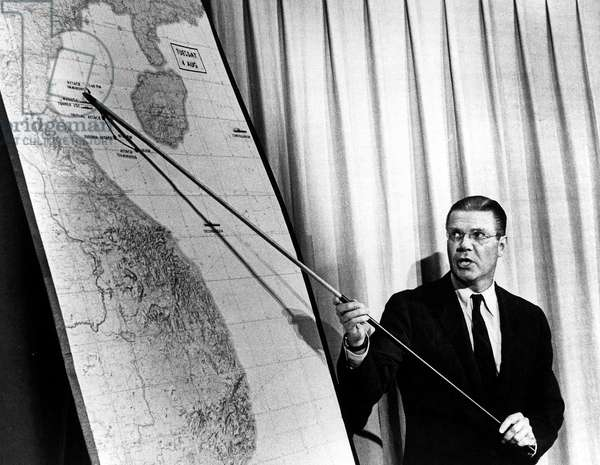 Robert Mc Namara american secretary of defence 1961-1968 here during press conference in Washington showing american positions destroyed by north vietnamese fleet in the Tonkin Gulf august 2-4, 1964 at the time of war in Vietnam