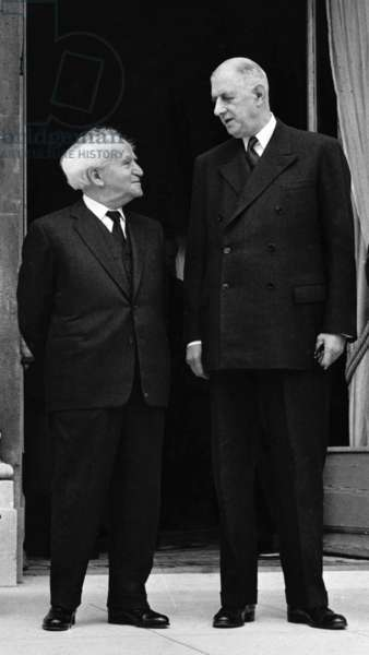 Meeting between David Ben Gourion (1886-1973) and the French president of the republic, Charles de Gaulle (1890-1970) during an official visit in France, on june 14th, 1960