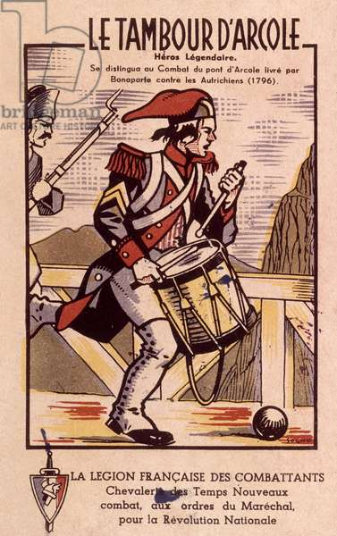 French engraving showing drummer of Arcole, published by French legion of Combatants (Vichy government) c. 1940