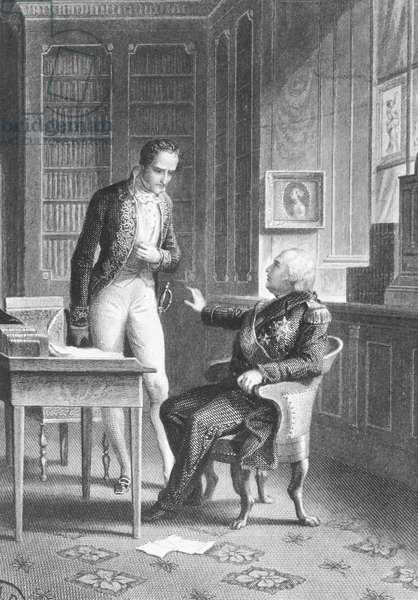 Meeting of Louis XVIII and Chateaubriand illustration from Memoires d'outre tombe by Chateaubriand 1848-1850 France