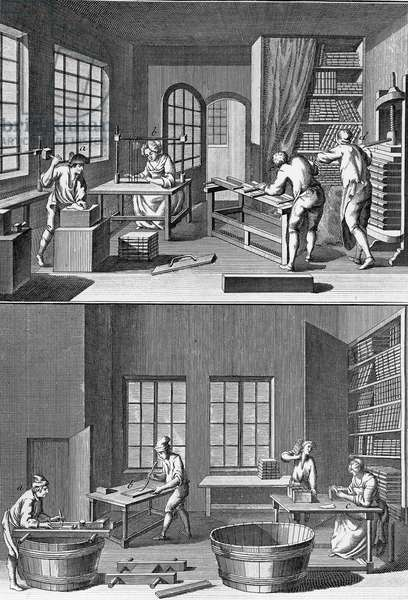 Bookbinding workshop, Engraving from Encyclopedia par Diderot and d'Alembert, c. 1750 - 1790