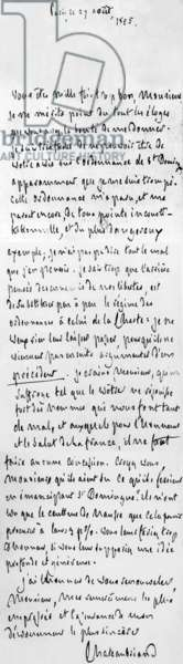 Handwritten letter of august 27, 1825 from Francois-Rene de Chateaubriand about the saint Domingue ruling (independance o f Saint Domingue) he judge dangerous