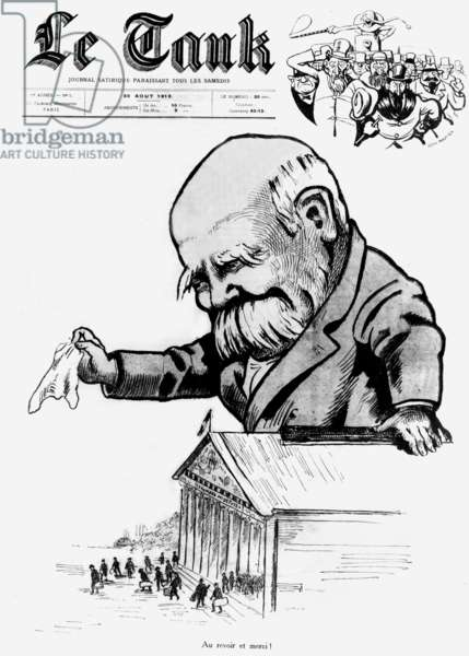 """French president Georges Clemenceau paying farewell to the deputees leaving the House of Deputees, front page of newspaper """"Le Tank"""" august 30, 1919 drawing by Jean Routier"""