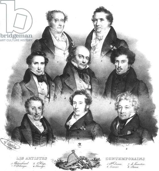 French writers : 1) Francois Rene de Chateaubriand 2) Casimir Delavigne 3) Victor Hugo 4) Jean de Beranger 5) Alexandre Dumas 6) Lemercier 7) Alphonse de Lamartine 8) Etienne, engraving