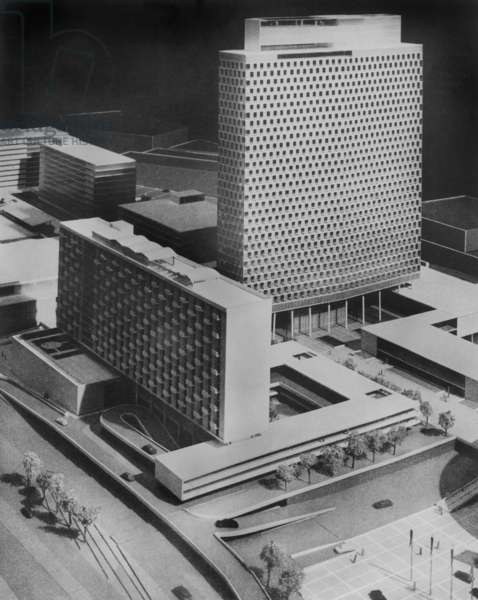 scale model for Boston Center designed by Walter Gropius in 1953 (Bauhaus style)