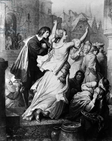 "Illustration of play ""Egmont"" by Johann Wolfgang von Goethe (1788), engraving"
