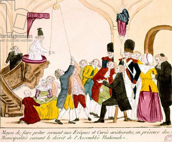 Cartoon depicting French Aristocrats and Clergy Taking the Oath of Allegiance to the Republic (coloured engraving)