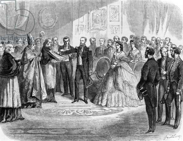 Maximillian (1832-1867), archduke of Austria, now Maximillian 1st of Mexico, taking an oath to mexican constitution in Miramar (near Trieste) in 1864, engraving