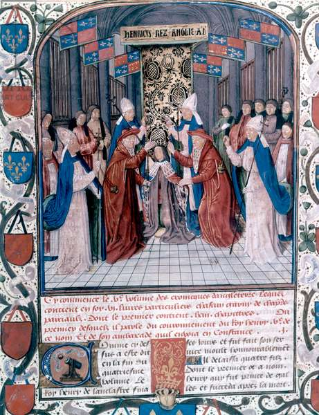 Coronation of Henry V of England, illustration from 'Chronicles of England' by Jean de Wavrin (vellum)