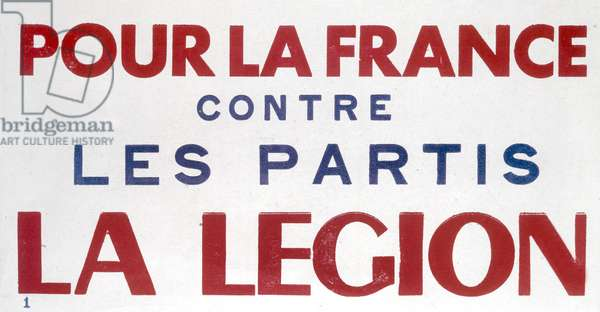 French propaganda poster of Vichy government for Legion against parties, c. 1941