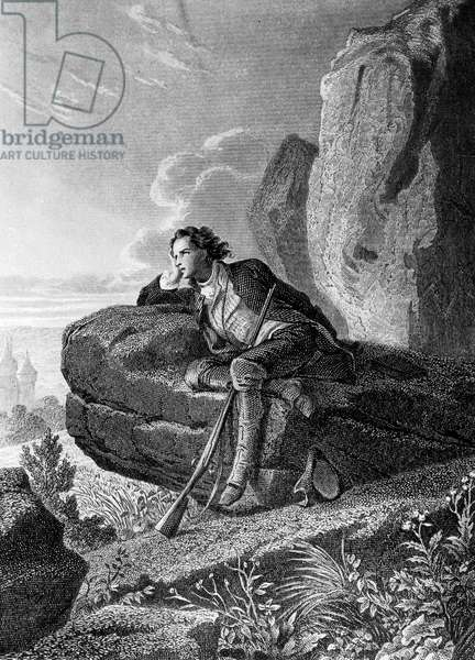 """Reverie of Chateaubriand, engraving illustrating """"Memoires d'outre tombe"""" by Francois Rene de Chateaubriand (1849)"""