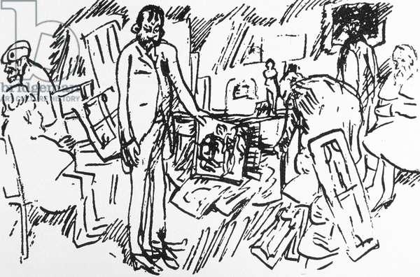 The shop of parisian art dealer Ambroise Vollard in Paris around 1895 : painters Camille Pissarro, Auguste Renoir, Pierre Bonnard and Edgar Degas with a client (pen & ink on paper)