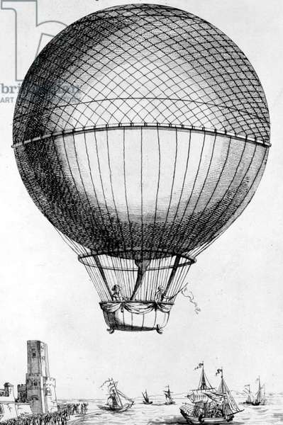 On january 7, 1785 Jean-Pierre Blanchard and John Jeffries crossing the Channel on a hot air balloon, engraving