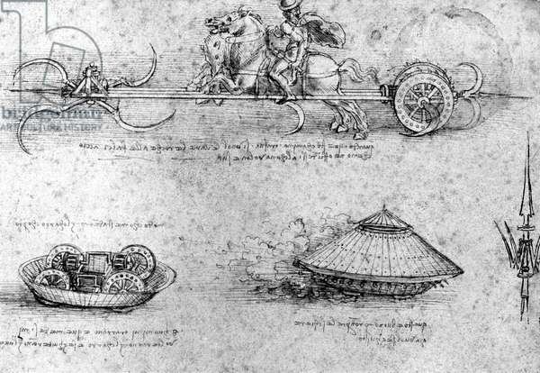 war machines studies , c. 1478-1518, drawing by Leonardo da Vinci, from the Codex Arundel (Feuille1030) collection BritishMuseum