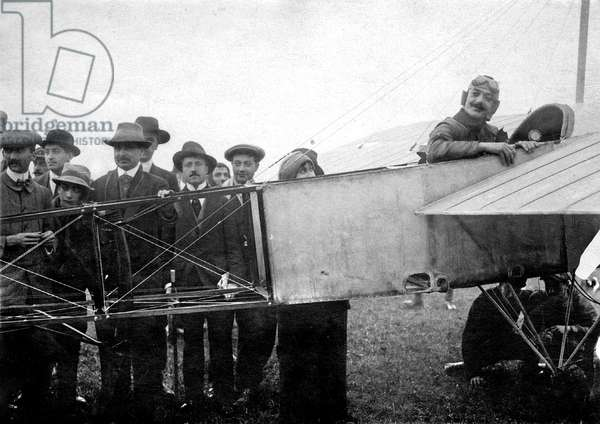 Ace aerobatics French pilot Adolphe Pegoud (1888-1915) at Buc airfield (France) before doing the 1st looping with a Bleriot monoplane on august 31, 1913