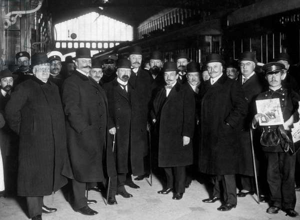 Staff of Russian asian bank at the station in Saint Petersburg may 1913