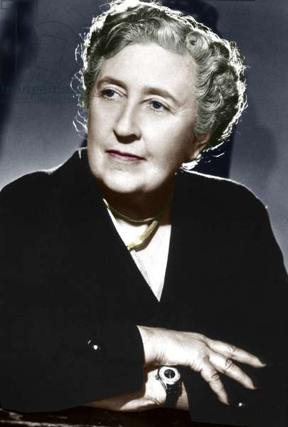 English novelist Agatha Christie (1891-1976) c. 1945 colourized document