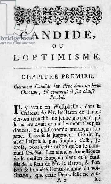 1st chapter of novel Candide by Voltaire, 1759