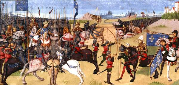 king Philip Auguste during the battle of Bouvines july 27, 1214, from manuscript the Great French Chronicles 15th century