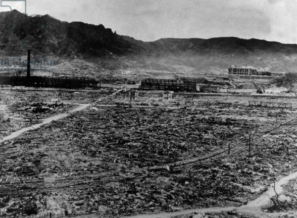 Ruins of Nagasaki after the 2nd american atomic bombing on august 09, 1945