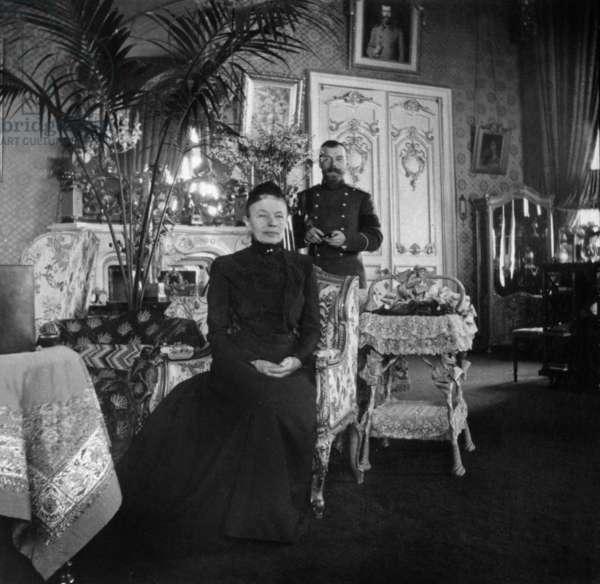 Nicholas II with Baroness Wilhelmine von Grancy, Peterhof Palace, April 1908 (b/w photo)