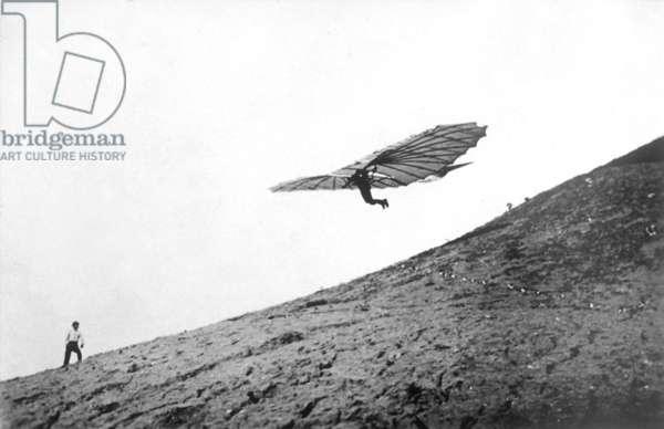 Flight of Otto Lilienthal, c.1891-96 (b/w photo)