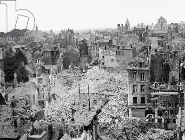 Caen, Normandy, France, july 1944 : the city in ruins after allies bombings