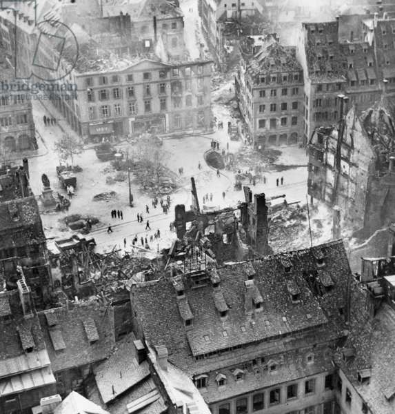 Bombardments on city of Strasbourg . Aerial View from the place Gutenberg severely destroyed the 11th August 1944