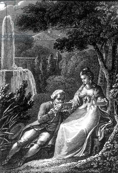 """Couple in a garden : man making hand kissing to woman, illustration for book """"Les Confessions"""" by Jean-Jacques Rousseau, engraving"""