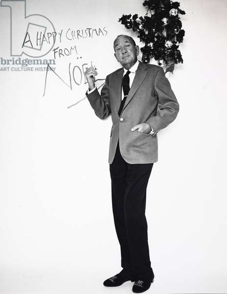 Noel Coward in photograph shoot for his 1965 Christmas