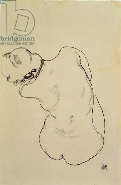 Reclining Nude - Back View, 1918 (black crayon on paper)