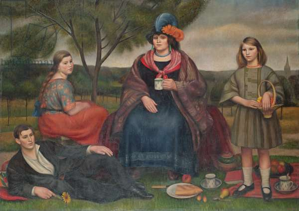 Coster Family on Hampstead Heath, 1924 (oil on canvas)