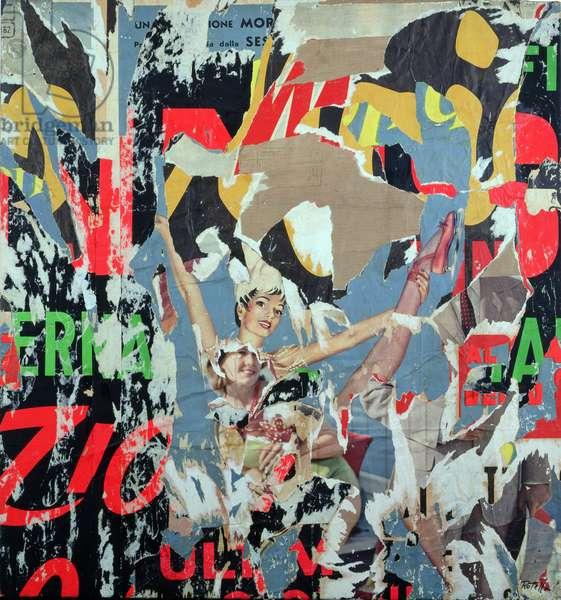 Im movimento, 1962 (decollage on canvas)