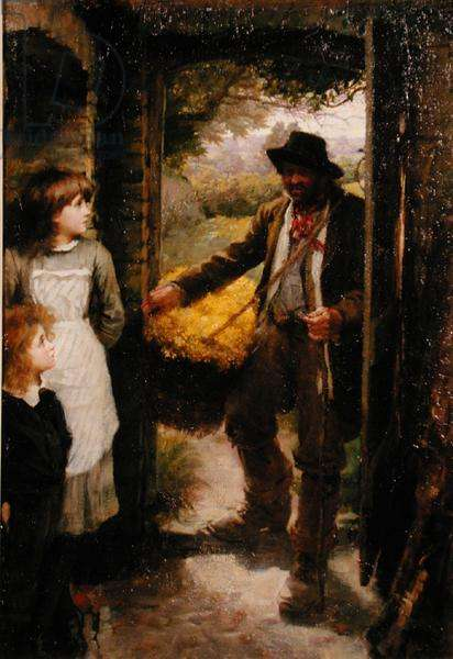The Cowslip Gatherer (oil on canvas)
