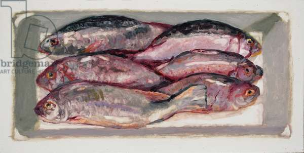 Fish crate 1  (Billingsgate, London), 2016 (oil on board)
