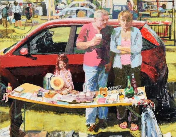 Car boot sale, 2011 (oil on board)