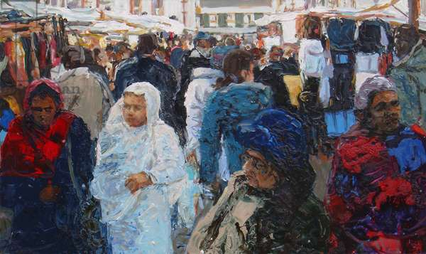 Market shoppers (Ridley Road, London), 2011 (oil on canvas)