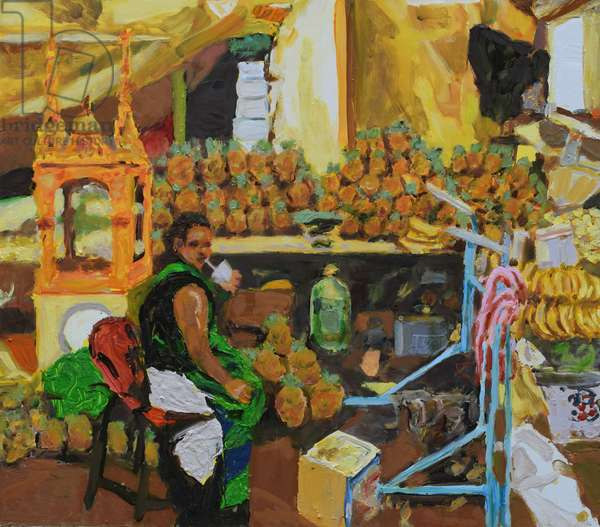 Pineapple trilogy 2 (Mexico City), 2018 (oil on board)